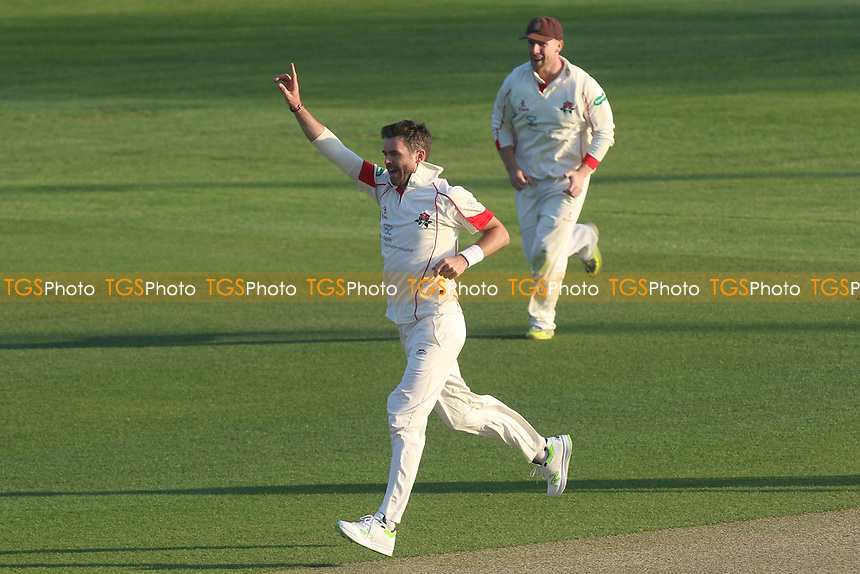 Jimmy Anderson of Lancashire celebrates taking the wicket of Aaron Beard during Essex CCC vs Lancashire CCC, Specsavers County Championship Division 1 Cricket at The Cloudfm County Ground on 7th April 2017