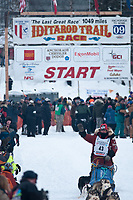 Lou Packer team leaves the start line during the restart day of Iditarod 2009 in Willow, Alaska