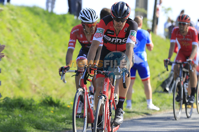 Daniel Oss (ITA) BMC Racing Team and Jasper Stuyven (BEL) Trek-Segafredo come off pave sector 10 Merignies a Avelin during the 115th edition of the Paris-Roubaix 2017 race running 257km Compiegne to Roubaix, France. 9th April 2017.<br /> Picture: Eoin Clarke | Cyclefile<br /> <br /> <br /> All photos usage must carry mandatory copyright credit (&copy; Cyclefile | Eoin Clarke)