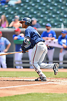 Mississippi Braves second baseman Alay Lago (19) swings at a pitch during a game against the Tennessee Smokies at Smokies Stadium on May 20, 2018 in Kodak, Tennessee. The Braves defeated the Smokies 7-4. (Tony Farlow/Four Seam Images)