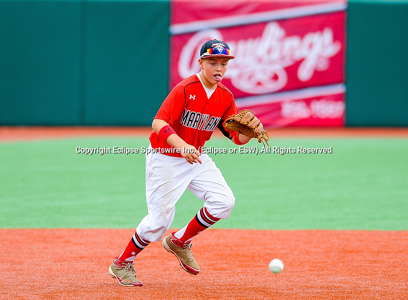 Boyds(MD)'s Brendan Collins fields a ground ball during the Cal Ripken Babe Ruth World Series in Aberdeen, Maryland on August 15, 2012. Boyds(MD) defeated Newtown(CT) 6-0.