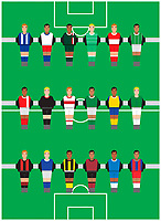 Table football players all wearing different strips