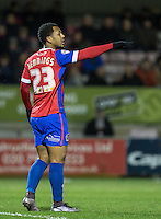 Ashley Hemmings of Dagenham & redbridge during the Sky Bet League 2 match between Dagenham and Redbridge and Wycombe Wanderers at the London Borough of Barking and Dagenham Stadium, London, England on 9 February 2016. Photo by Andy Rowland.