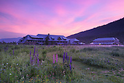 The Appalachian Mountain Club's Highland Center at the start of Crawford Notch State Park in the White Mountains, New Hampshire at sunrise.