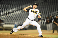 ***Temporary Unedited Reference File***Jacksonville Suns relief pitcher Tyler Higgins (35) during a game against the Mobile BayBears on April 18, 2016 at The Baseball Grounds in Jacksonville, Florida.  Mobile defeated Jacksonville 11-6.  (Mike Janes/Four Seam Images)