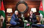 Jordanian King Abdullah II meets with Palestinian President Mahmoud Abbas, in Amman, Jordan, on October 22, 2017. Photo by Osama Falah