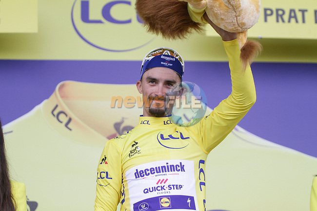 Race leader Julian Alaphilippe (FRA) Deceuninck-Quick Step loses time but retains the Yellow Jersey at the end of Stage 15 of the 2019 Tour de France running 185km from Limoux to Foix Prat d'Albis, France. 20th July 2019.<br /> Picture: Colin Flockton   Cyclefile<br /> All photos usage must carry mandatory copyright credit (© Cyclefile   Colin Flockton)