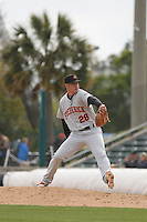 Frederick Keys pitcher Michael Zouzalik (28) on the mound during a game against the Myrtle Beach Pelicans at Ticketreturn.com Field at Pelicans Ballpark on April 10, 2016 in Myrtle Beach, South Carolina. Myrtle Beach defeated Frederick 7-5. (Robert Gurganus/Four Seam Images)