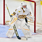 9 October 2009: University of Vermont Catamount goaltender Kristen Olychuck, a Senior from Kelowna, British Columbia, in action against the Union Dutchwomen at Gutterson Fieldhouse in Burlington, Vermont. Olychuck recorded a shutout as the Catamounts defeated the visiting Dutchwomen 2-0 to start off the Cats' 2009 season. Mandatory Credit: Ed Wolfstein Photo