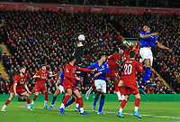 5th January 2020; Anfield, Liverpool, Merseyside, England; English FA Cup Football, Liverpool versus Everton; Yerry Mina of Everton heads the ball past Liverpool goalkeeper Adrian but wide of the goalpost - Strictly Editorial Use Only. No use with unauthorized audio, video, data, fixture lists, club/league logos or 'live' services. Online in-match use limited to 120 images, no video emulation. No use in betting, games or single club/league/player publications
