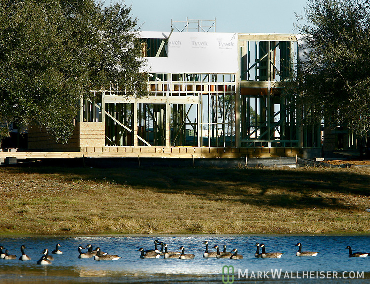 Home construction on the Southern Living Magazine Idea House at St Joe's White Fence Farms six miles east of Tallahassee, Florida June 11, 2006.