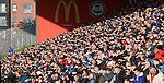 Rangers fans struggling with the low sun and lack of attacking action from their team in the first half