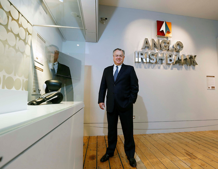 No Repro Fee..22/10/2012.Mike Aynsley, IBRC CEO, pictured in the The National Museum of Ireland,Collins Barracks. The National Museum of Ireland, in partnership with the Irish Times and the Royal Irish Academy are mounting a public exhibition of 10 objects, chosen by members of the public, which they feel are representative of contemporary Ireland.  One of these objects will be chosen as the 100th object and included in a book, A History of Ireland in 100 Objects written by Irish Times journalist Fintan O'Toole and published in spring 2013. The objects as chosen represent various facets of modern day Ireland and include the Anglo Irish Bank signage. .The exhibition has been profiled in the pages of the Irish Times and opens to the public tomorrow, Tuesday, 23 October and will run until Sunday, 2 December 2012. Members of the public have been encouraged to vote for what they believe should be the 100th object.  Pic. Robbie Reynolds/CPR.