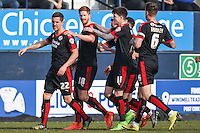 Matt Harrold of Crawley Town (2nd left) celebrates scoring the opening goal against Luton Town during the Sky Bet League 2 match between Luton Town and Crawley Town at Kenilworth Road, Luton, England on 12 March 2016. Photo by David Horn/PRiME Media Images.