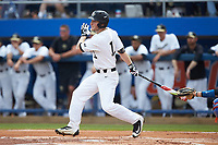 Jonathan Pryor (11) of the Wake Forest Demon Deacons follows through on his swing against the Florida Gators in Game Two of the Gainesville Super Regional of the 2017 College World Series at Alfred McKethan Stadium at Perry Field on June 11, 2017 in Gainesville, Florida.  (Brian Westerholt/Four Seam Images)