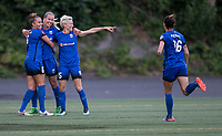 Seattle, WA - Saturday July 22, 2017: Lindsay Elston, Beverly Yanez, Megan Rapinoe, Carson Pickett during a regular season National Women's Soccer League (NWSL) match between the Seattle Reign FC and Sky Blue FC at Memorial Stadium.