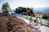 Tao Geoghegan Hart (GBR/Ineos) & Ruben Guerreiro (POR/Katusha-Alpecin) fight it out for 3rd in the stage 15 finale<br /> <br /> Stage 15: Tineo to Santuario del Acebo (154km)<br /> La Vuelta 2019<br /> <br /> ©kramon