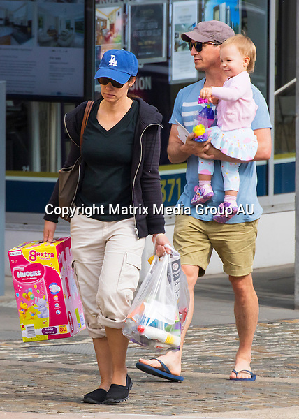 4 OCTOBER 2015 SYDNEY AUSTRALIA<br /> <br /> EXCLUSIVE PICTURES<br /> <br /> Rove McManus pictured with his wife Tasma and daughter Ruby leaving an IGA store at Rose Bay with some supplies including a big box of nappies.