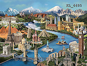 Interlitho, LANDSCAPES, LANDSCHAFTEN, PAISAJES, paintings+++++,world sights,KL4480,#L# #161#,tower bridge,taj mahal,eiffel tower,acropolis,neuschwanstein,stue of liberty,niagara falls,stonehedge
