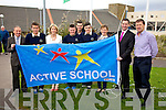 Colaiste na Sceilge have been awarded the first Active Blue Flag for post primary schools in Kerry pictured here l-r; John O'Connor(Principal), Cathal O'Donovan(TY), Gillian O'Connor(Teacher & project Co-ordinator), Declan Moran(TY), Shane O'Neill(Teacher & Basket Ball Coach), Graham O'Sullivan(TY), Fiona Garvey(PE Teacher), Darren Frehill(RTE Sports Broadcaster) & Jack O'Connor(Teacher & Football Coach).