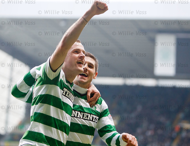 Anthony Stokes celebrates with team mate Gary Hooper