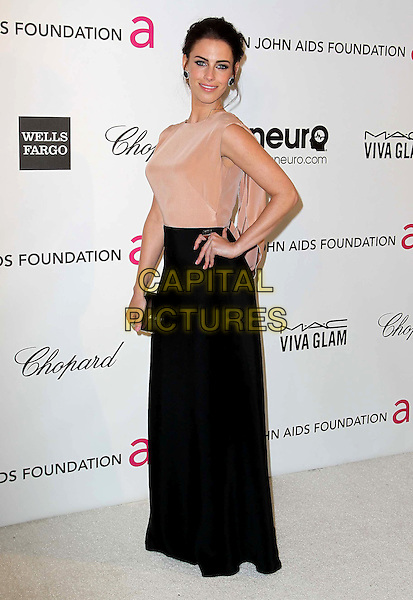 Jessica Lowndes.The 21st Annual Elton John AIDS Foundation Academy Awards Viewing Party held at The City of West Hollywood Park in West Hollywood, California, USA..February 24th, 2013.oscars full length dress beige sheer sleeveless black skirt clutch bag hand on hip.CAP/ADM/KB.©Kevan Brooks/AdMedia/Capital Pictures.