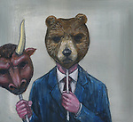 Deceptive image of man holding bull mask while wearing bear mask