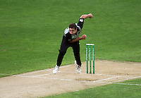 NZ's Tim Southee bowls during 2nd Twenty20 cricket match match between New Zealand Black Caps and West Indies at Westpac Stadium, Wellington, New Zealand on Friday, 27 February 2009. Photo: Dave Lintott / lintottphoto.co.nz