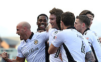 Ryan Bird of Newport County celebrates scoring his sides first goal of the match during the Sky Bet League Two match between Newport County and Hartlepool United at Rodney Parade, Newport, Wales, UK. Saturday 28 January 2017