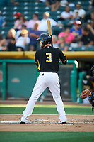 Taylor Ward (3) of the Salt Lake Bees bats against the New Orleans Baby Cakes at Smith's Ballpark on June 8, 2018 in Salt Lake City, Utah. Salt Lake defeated New Orleans 4-0.  (Stephen Smith/Four Seam Images)
