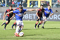 Fabio Quagliarella of Sampdoria scores on penalty goal of 2-0 <br /> Genova 14-04-2019 Stadio Luigi Ferraris Football Calcio Serie A 2018/2019 Sampdoria - Genoa <br /> Foto Matteo Gribaudi / Image Sport / Insidefoto