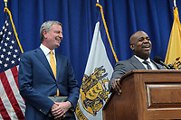 Newark, New Jersey-May 1: New York City Mayor De Blasio, Newark City Mayor Ras Baraka and others attend press conference announcing proposed ordinance to provide low income residents with access to free legal representation in landlord tenant disputes. Initiative modeled after New York City's right to counsel law which guarantees legal representation in housing court to low-income tenants facing eviction.  Credit: Mpi43/MediaPunch