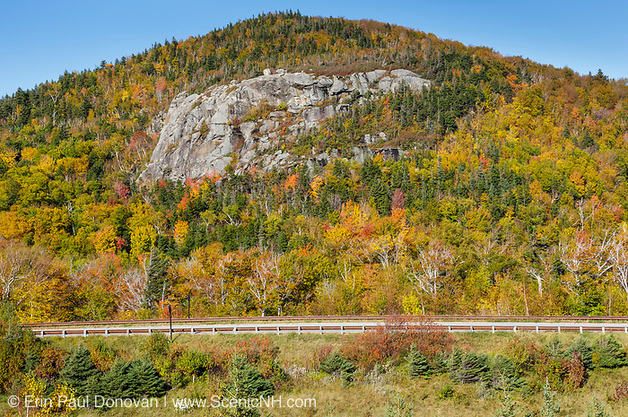 Artists Bluff in Franconia, New Hampshire during the autumn months. Located in the northern portion of Franconia Notch State Park, this rocky outcrop is popular with rock climbers. It also offers a great view into Franconia Notch.