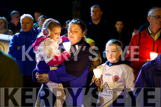 Laura, Linda and Shauna Harris, all from Tralee, pictured at the Remembrance of Thomas Ashe torchlight parade in Ashe Street, on Monday night last.