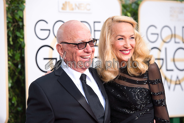 Rupert Murdoch and Jerry Hall, model, arrive at the 73rd Annual Golden Globe Awards at the Beverly Hilton in Beverly Hills, CA on Sunday, January 10, 2016. Photo Credit: HFPA/AdMedia