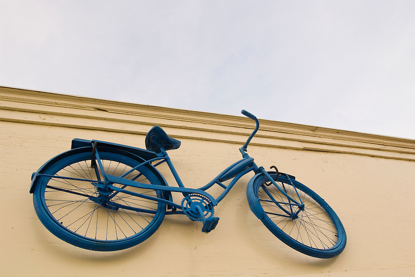 A bike is the sign for a bicylce rental business on Mackinac Island in Michigan.