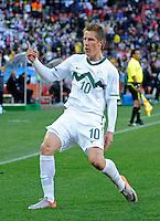 Valter Birsa of Slovenia celebrates his goal, 1-0