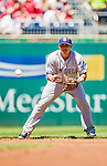 27 April 2014: San Diego Padres shortstop Everth Cabrera in action against the Washington Nationals at Nationals Park in Washington, DC. The Padres defeated the Nationals 4-2 to to split their 4-game series. Mandatory Credit: Ed Wolfstein Photo *** RAW (NEF) Image File Available ***