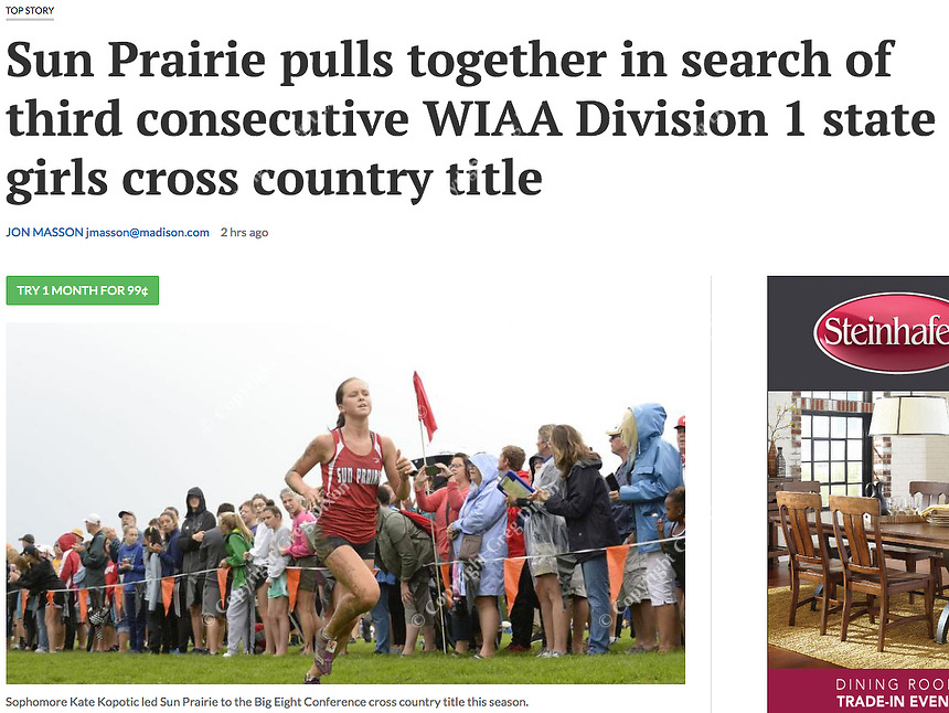 Sun Prairie's Kate Kopotic leads Sun Priaire to Wisconsin Big Eight Conference championship. Kopotic is pictured here from Verona Invitational cross country meet on Saturday, 9/1/18, at Verona High School | Wisconsin State Journal article front page Sports 10/24/18 and online at https://madison.com/wsj/sports/high-school/cross-country/sun-prairie-pulls-together-in-search-of-third-consecutive-wiaa/article_9402269f-f432-5e92-b687-53291a84a2a6.html