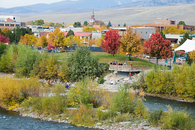 Fall color in the Missoula Valley with Brennan's Wave overlook and buildings of downtown