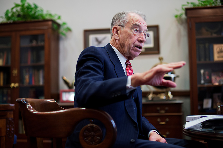 UNITED STATES - JANUARY 21: Sen. Charles Grassley, R-Iowa, is interviewed by Roll Call in his Hart Building office, January 21, 2015. (Photo By Tom Williams/CQ Roll Call)