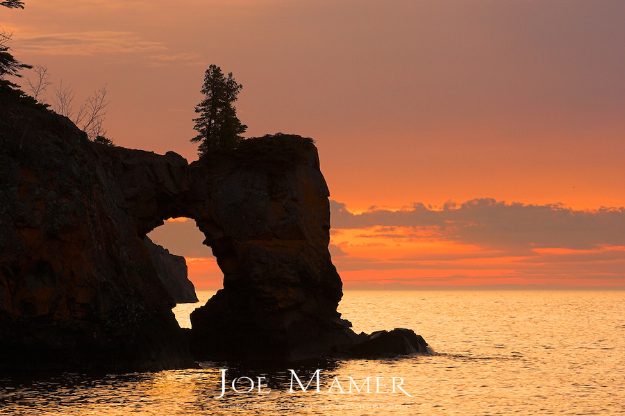 Natural arch on Lake Superior in Tettegouche State Park on Minnesota's north shore.