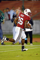 Kenneth Tolon scores a td during Stanford's 63-26 win over San Jose State on September 14, 2002 at Stanford Stadium.<br />