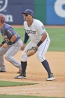 Northwest Arkansas Naturals first baseman Samir Duenez (9) in action during a game against the Frisco RoughRiders at Arvest Ballpark on May 24, 2017 in Springdale, Arkansas.  Frisco won 8-5.  (Dennis Hubbard/Four Seam Images)