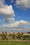 Israel, Menashe' Heights. A view of Ein Ha'emek from road 672