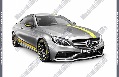 Silver 2016 Mercedes‑AMG C 63 S luxury sports car. Mercedes Benz AMG C-class isolated on white background with clipping path.