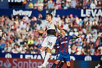 27th October 2019; Estadi Cuitat de Valencia, Valencia, Spain; La Liga Football, Levante versus Espanyol; Bernardo Espinosa of Espanyol challenges for a high ball with Roger of Levante UD - Editorial Use