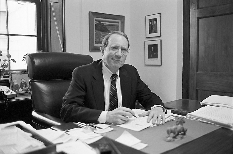 "Rep. Anthony Charles ""Tony"" Beilenson, D-Calif. at office on 27 February, 1992. (Photo by CQ Roll Call)"