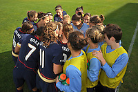 US Women's National Team huddle before the game vs Iceland in Vila Real Sto. Antonio, Portugal during the Algarve Cup.