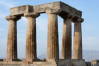 CORINTH, GREECE - APRIL 15 : A detail of the Temple of Apollo, on April 15, 2007 in Corinth, Greece. Standing prominently on a knoll the Temple of Apollo was built in the 7th century BC in the Doric Order. Seven of its original 38 columns remain standing and are seen here in the afternoon light. It is one of the oldest temples in Greece. Corinth, founded in Neolithic times, was a major Ancient Greek city, until it was razed by the Romans in 146 BC. Rebuilt a century later it was destroyed by an earthquake in Byzantine times. (Photo by Manuel Cohen)